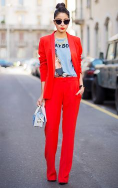 Red pantsuit + graphic t-shirt