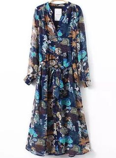 Blue V Neck Tie-Waist Floral Dress