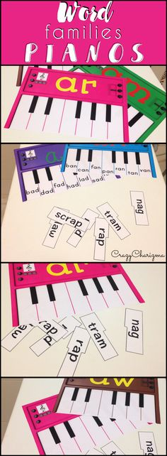 Build your pianos and practice word families with your kids! Perfect for literacy center ideas and great reading strategies! CrazyCharizma @ www. Teaching Phonics, Phonics Activities, Teaching Reading, Classroom Activities, Word Family Activities, Art Classroom, Classroom Ideas, Teacher Resources, Teaching Ideas