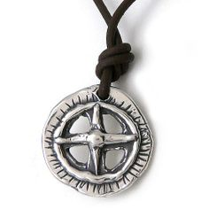 """Find Your True North: Men's / Unisex Compass Rose on Leather Necklace Modern Artisans. $59.99. Handcrafted in the USA. Accented with chocolate brown deerskin leather necklace. 1"""" diameter chunky compass rose design, sterling silver plated (plated with 5x the normal amount!). """"Find Your True North"""" is etched on reverse. Double-plated sterling lobster claw clasp; 20"""" unisex length"""