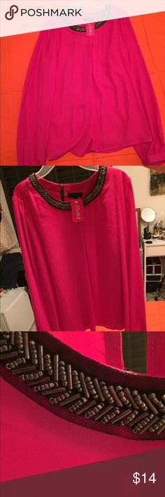 Dressy Fuschia blouse Dressy Fuschia blouse with a nice beaded collar. a'gaci Tops Blouses