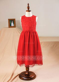 [US$ 46.99] A-Line/Princess Knee-length Flower Girl Dress - Tulle/Lace Sleeveless Scoop Neck (010094124)