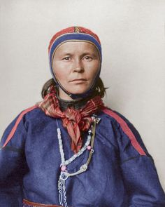"""""""c. 1906-1911: Ellis Island Immigrants in Color,"""" Mashable (1 October 2016). """"Laplander."""" Gákti is the traditional costume of the Sámi people, who inhabit the Arctic regions spanning from northern Norway to the Kola peninsula in Russia. Traditionally made from reindeer leather and wool, velvet and silks are also used, with the (typically blue) pullover being supplemented by contrasting colored banding of plaits, brooches and jewellery . . ."""