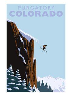 Vintage travel poster - Purgatory, near Durango