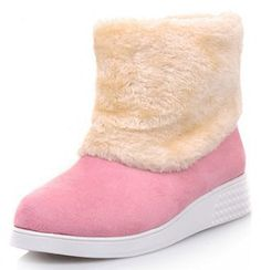IDIFU Womens Comfy Mid Wedge Heels Heighten Platform Faux Fur Lined Lace Up Ankle Snow Boots  UGQWD656M