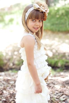Flower Girl Dress  Baptism Dress  Cream Flower by PoshPeanutKids, $35.00