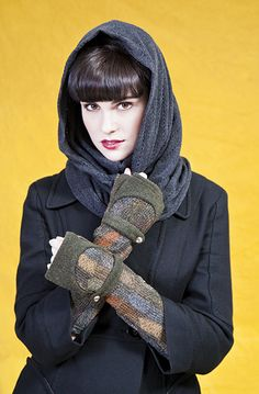 Paper People Clothing - Fall Winter 2013 - Theresa Cowl - Maria Arm Warmers - Upcycled - Reclaimed Vintage - Eco Fashion - Grey - Charcoal - Green - Patchwork - One of a Kind - Armwarmers - Hand warmers - Gauntlets