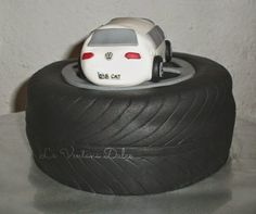 Tarta Rueda y coche.