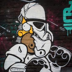 A little Oakland street art between restaurants — a Homer Simpson / Stormtrooper mashup outside Hawker Fare.