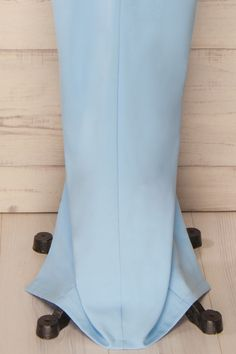 Alness Sky - Baby blue asymmetric peplum gown
