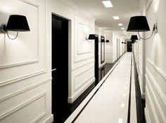 Hotel interiors, black and white hallway, black doors, white doors, black. Hotel Hallway, Hotel Corridor, Long Hallway, Hallway Sconces, Upstairs Hallway, Entry Hallway, Black And White Hallway, Black Doors, Black White