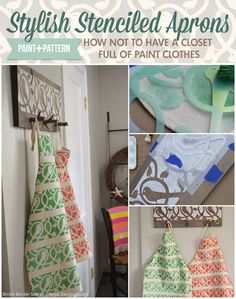Fun DIY Project - Cute Stenciled Fabric Aprons for the Craft Room, Kitchen, or DIY Gifts