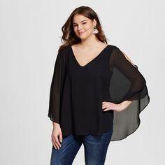 Women's Plus Size Cross-Back Blouse Black - 3Hearts