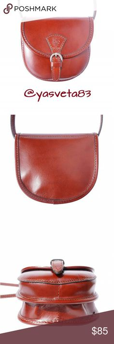 """Genuine Leather Crossbody Bag Handcrafted in Italy Condition: New. Country: Handcrafted in Italy, Florence. Color: Brown. Material: Genuine Calf Leather. Measurements:  length 6.2"""", width 1.5"""", height 5.9"""", shoulder belt 53.1"""". Closure type: magnetic snap. Metallic pieces: silver color.  Outside part: rigid structure, one pocket on the front side. Inside: one compartment and inner zip pocket. Vera Pelle Bags Crossbody Bags"""