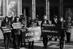 """December 3, 2011 was of high importance for all Armenians: for the firsttime Women in Black worldwide famous movement came into our country, too, gathering dozens of women and girls from different regions of RA around one goal. The public event """"Stop violence against women"""" in the frames of worldwide known """"Women in Black"""" women's network has been held in Armenia."""