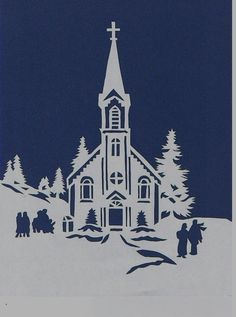 Wintery Church Scene Papercutting by heritagegeneralstore on Etsy Christmas In July, Christmas Paper, Christmas Crafts, Christmas Decorations, Christmas Ornaments, Kirigami, Paper Cutting, Papercut Art, Christmas Eve Service