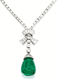 Diamonds in the Library: Van Cleef and Arpels diamond and emerald pendant necklace, circa 1951.