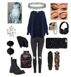 """""""Navy blue🌌"""" by lacie-clair on Polyvore featuring Topshop, Paisie, Dr. Martens, Beats by Dr. Dre, Vans and Halogen"""