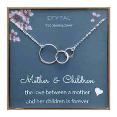 Amazing offer on EFYTAL Mom 2 Children Necklace, Sterling Silver Three 3 Interlocking Infinity Circles, Mothers Day Jewelry Gift online - Popularfashion Kids Necklace, Circle Necklace, Short Necklace, Necklaces, Mother Day Gifts, Gifts For Mom, Birth Gift, Heart Choker, Perfect Mother's Day Gift