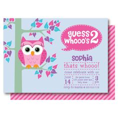 Owl party invitations decorations full printable package pink owl birthday party invitations 2nd birthday invitation printable or printed solutioingenieria Gallery