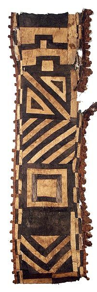 Kuba Barkcloth Textile, Africa | Barkcloth from the Kuba people of DR Congo | These special wraps were worn outside, or on top of, the long dance dresses for added decoration and prestige. | © Tim Hamill