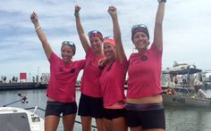 The Coxless Crew hit the coast in Cairns on Monday after leaving San Francisco in April and spending nine months in their 29-foot pink boat named Doris and hope to be recognized as the first all-female and four-strong crew to have rowed across the world's biggest ocean.