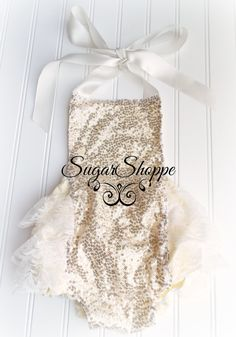 Gold Sequin Ruffle Butt Romper, Sparkle Baby, Shimmery One Piece, Photo Shoot, Gold First Birthday Outfit, Ready to Ship, Ruffle Bums, Gold