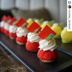 #Repost @nicolas_lambert with @repostapp ・・・ Raspberry and lychee Puffs #capricehk #pastry #raspberry #hkfood #hongkong #frenchpastry #lychee #mignardises #hk #fshongkong #patisserie #foodporn #valrhona #framboise #chef #fourseasonshk #petitsfours #pastryteam #valrhonahk #caprice #litchi #red #greenleaf #puff #hkrestaurant #choux #chocolate