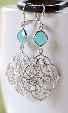 Flower Teardrop Dangle Earrings with Turquoise Blue Jewels