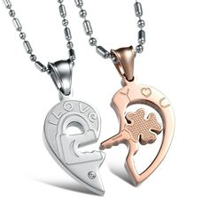 Daesar Hers /& Hers Necklace Set Couples Stainless Steel CZ Key Four Leaf Clover Pattern Lucky Key Pendant