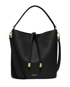 Miranda Medium Leather Shoulder Bag, Black