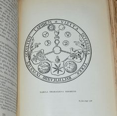 """""""Tabula Smaragdina Hermetis"""" - A Rosicrucian diagram loaded with esoteric meanings. Among other things it gives explanation of the Emerald Tablet of Hermes. The Latin phrase  around the edge of this diagram reads """"Visita Interiora Terrae Rectificando Invenies  Occultum Lapidem"""" and gives clues to the secret of Alchemy. etsy.com/shop/CosmicLibrary"""