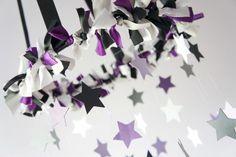 Star Mobile- Nursery Mobile in Purple, Gray, Black,
