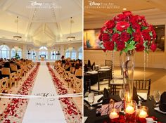 Red ceremony rose petals and matching red floral reception centerpieces