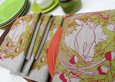set of four napkins  100% natural linen  measure 18x18  made in PA of imported material  screen printed by hand, one piece at a time  color: