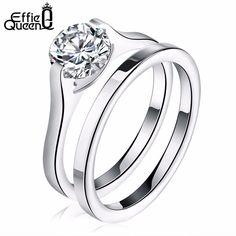 Effie Queen Stainless Steel Wedding Ring Sets for Women Men Bijoux Vintage Luxury Shiny CZ Diamond Jewelry Accessories IR19 //Price: $13.99 & FREE Shipping //     #accessories #necklaces #pendants #earrings #rings #bracelets    FREE Shipping Worldwide     Get it here ---> https://www.myladyempire.com/effie-queen-stainless-steel-wedding-ring-sets-for-women-men-bijoux-vintage-luxury-shiny-cz-diamond-jewelry-accessories-ir19/