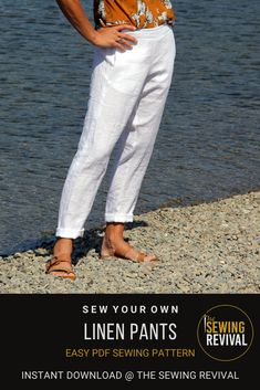 The Sidewinder pants PDF sewing pattern is one of our most popular. With a minimized rear waist gather and flat front waistband, these pull on pants are flattering and comfortable.  The pockets sit easily inside the side seam that curves around the leg making a designer statement. Available in sizes UK 6-18 and US 2-14. Available for instant download at @TheSewingRevival. #easysewingpattern #Womenssewingpattern #linenpantssewingpattern Modern Sewing Patterns, Fabric Patterns, Pull On Pants, Work Pants, Draped Fabric, Linen Pants, Fabric Design, Curves, Pockets