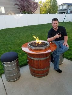Items similar to Whiskey Barrel Fire Pit on Etsy