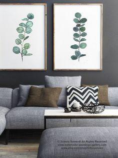 Eucalyptus Branch Watercolor Painting, set of 2 Eucalyptuses Green Living Room Wall Decoration, Scandi Decor Botanical Poster, Kitchen Print