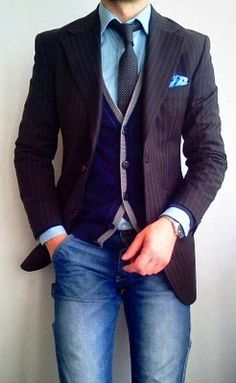 stripes & denim. suit jacket and vest with jeans.