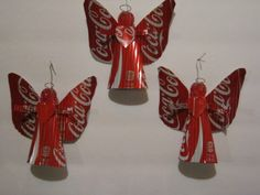 3 recycled aluminum can angels total upcycled