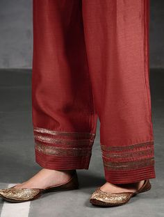 Best 11 Maroon Silk Cotton Pants with Brocade Kurti Sleeves Design, Kurta Neck Design, Sleeves Designs For Dresses, Dress Neck Designs, Sleeve Designs, Salwar Designs, Kurta Designs Women, Kurti Designs Party Wear, Salwar Pants