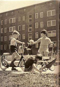 A little girl shows her doll to a friend, East Germany, photograph by Klaus Dieter Zeutschel. Vintage Photographs, Vintage Photos, Vintage Children Photos, East Germany, Historical Images, Prams, Joy And Happiness, Girls Show, Cold War