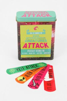 'When Mythological Creatures Attack' plasters from www.urbanoutfitters.com. Beyond cool :)) #autism #aspergers #geek