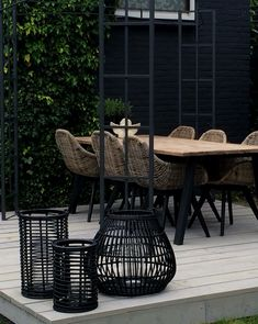 Gray, black and natural wicker and pale wood outdoor garden dining set with great modern contemporary style! Love the mix of textures and woven wicker chairs! Tuinset Source by robertabrunnhub Backyard Games, Backyard Patio, Backyard Landscaping, Garden Furniture, Outdoor Furniture Sets, Luxury Furniture, Furniture Design, Garden Dining Set, Dining Sets