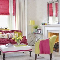 Pink damask Roman shade and matching couch. I think I'd have trouble pulling this off without it looking too staged.