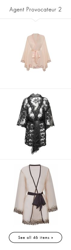 """Agent Provocateur 2"" by poetikjustice89 ❤ liked on Polyvore featuring intimates, robes, ivory, nightwear, agent provocateur, kimono robe, lingerie, underwear, black and lace robe"