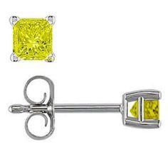 14K WHITE GOLD 1/4 (.25) CARAT FANCY YELLOW DIAMOND EARRINGS! ESTATE! 14 K! #Unbranded #BUTTERFLYBACKS