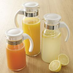 Glass Fridge Pitchers, Set of 3 Durable glass pitcher set offers a choice of beverages and stores in minimal space. Cute Kitchen, Smart Kitchen, Kitchen Things, Kitchen Items, Kitchen Stuff, Kitchen Tools And Gadgets, Cooking Gadgets, Glass Fridge, Home