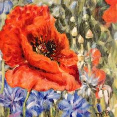 "Daily Paintworks - ""Poppy at Williamsburg Nursery"" - Original Fine Art for Sale - © Debbie Yacenda"